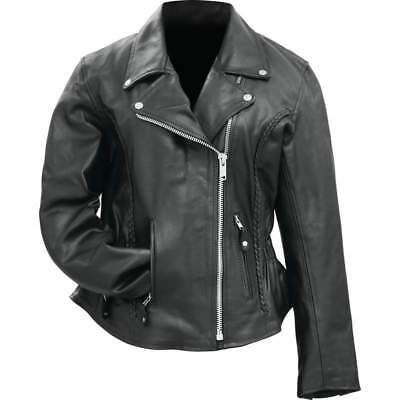 Womens Black Solid Genuine Buffalo Leather MOTORCYCLE JACKET Coat Biker Lined