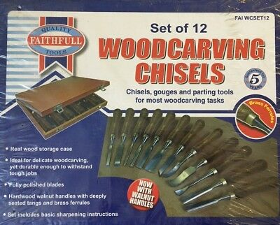 Set Of Faithful 12 Woodcarving Chisels Gouges Parting Tools