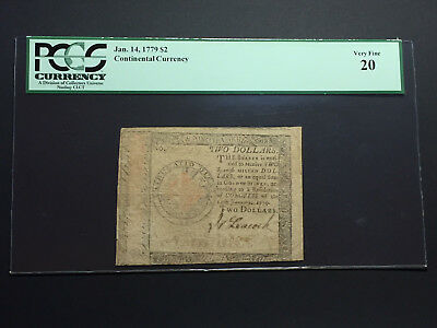 Jan. 14 1779 $2 Continental Currency Note PCGSC Very Fine 20 - Hall & Sellers