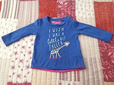 Joules Baby Girl Long Sleeve Top Age 6-9 Months Blue Pink Giraffe - Used