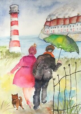Original Watercolour painting. ' A SEASIDE JAUNT '.  by A. Aster