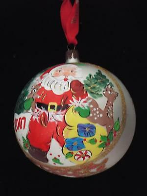 Waterford Holiday Heirlooms 2007 ANNUAL SANTA GLASS BALL Tree Decoration Boxed