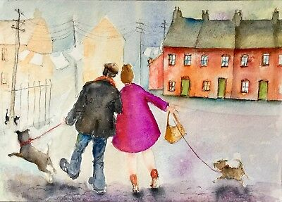 Original Watercolour painting. ' WALKING THE DOGS'.  by A. Aster