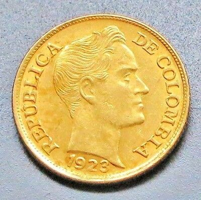 "1923-B Colombia 5 Pesos (Cinco Pesos) Gold Coin. ""VF"" -  KM#: 201.1"