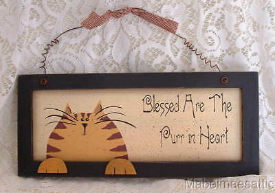 New Folk Art Country Folk Orange Tabby Blessed are the Purr in Heart Wood SIGN