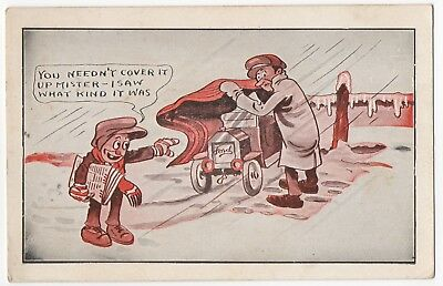 1910c~WITT ARTIST SIGNED~FORD Model T AUTOMOBILE DRIVER~NEWSBOY~COMIC SERIES