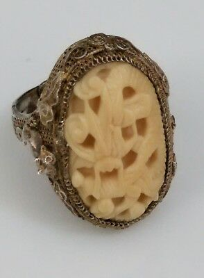 RARE Signed Antique Chinese Export SIlver Carved Figural Filigree Ring Vintage