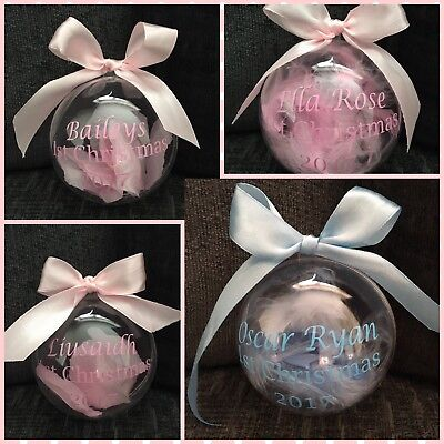 Personalised Baby's First Christmas Bauble Girl/boys Tree Decorations