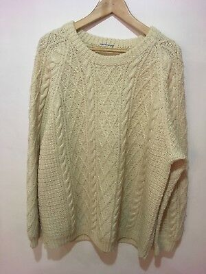 mans large , 54inch, hand knitted Arran Jumper in ivory wool
