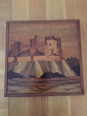 Marquetry Wood Picture Art - Clifftop Castle