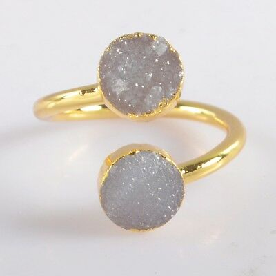 Size 6.5 Natural Agate Druzy Geode Adjustable Ring Gold Plated B049941