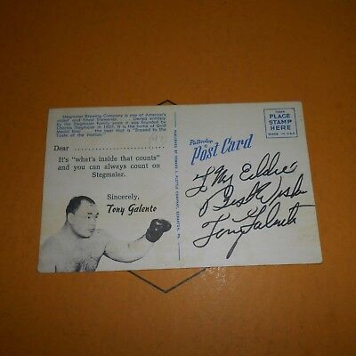 Tony Galento was an American heavyweight boxer Hand Signed Vintage Postcard
