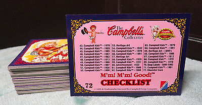 Campbell's ~ Campbell Kids ~ Trading Cards ~ Full & Complete Set 72 Cards ~ 1995