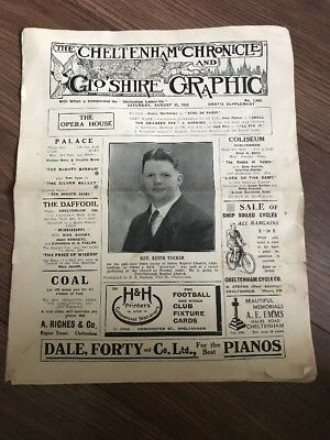 The Cheltenham Chronicle & Glos Graphic 1935 Newspaper Lots Of Adverts Football