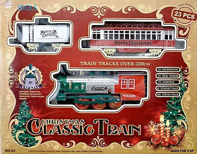 New Classic Christmas Train Set 23 Piece With Real Smoke Sounds & Headlight Gift