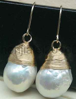 14-16mm white baroque freshwater South Sea Pearl earrings 14k gold