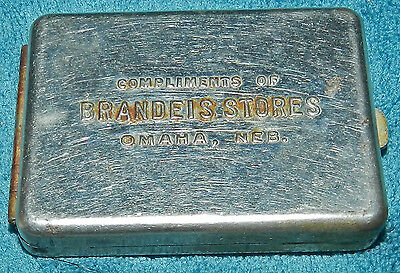 Compliments Of Brandeis Stores Metal Tin/case Omaha Nebraska