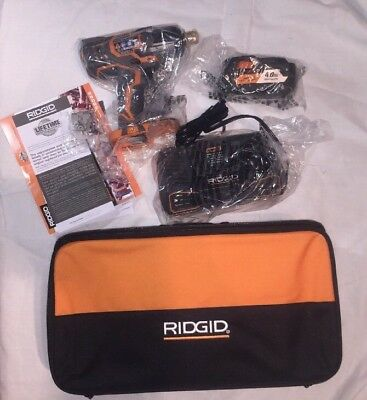 RIDGID  18-Volt 1/2 in. Impact Wrench Kit R86010KN 4X Lithium Ion Battery & Case