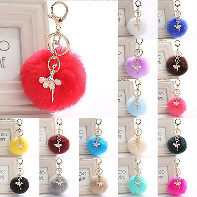 Rabbit Fur Dancing Angel Ball Pom Pom Car Keychain Handbag Key Ring Pendant