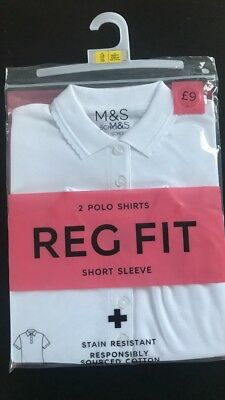 Brand New Girls White Polo Tops 7-8 Years