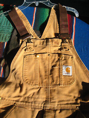 Carhartt DUCK Bib Overalls Red Quilt Lined Insulated Brown Double Knee USA 34x30