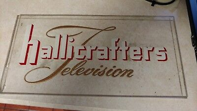 Glass Ad for Hallicrafters Television in white/red and gold lettering