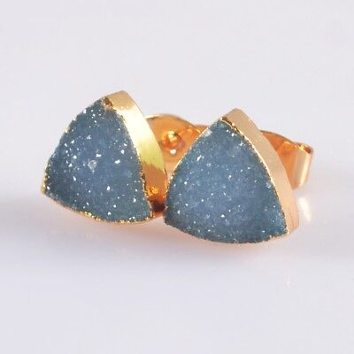10mm Triangle Blue Agate Druzy Geode Stud Earrings Gold Plated B049965