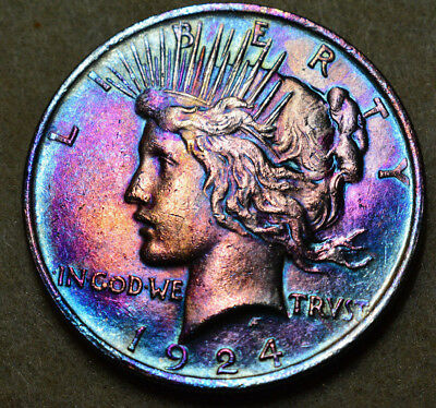 Peace Silver Dollar Monster Ranbow Toned 1924 AU/BU coin / Toning