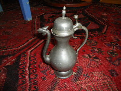 18th century pewter spouted flagon, unusual dragon head spout