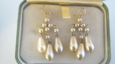 Lovely Antique  Faux Pearl Chandalier Earrings Gold Wires
