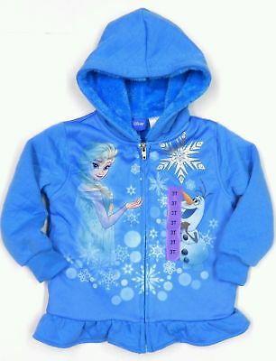 Official Disney Frozen Girls Zipped Faux Fur Lined Jacket with Hood