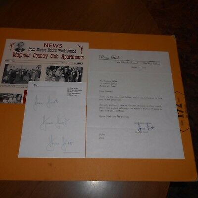 Horace Heidt  big band leader Hand Signed Letter & Page (3x)