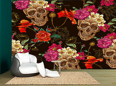 Sugar Skull Black Pink Red Floral Wall Mural Photo Wallpaper GIANT WALL DECOR