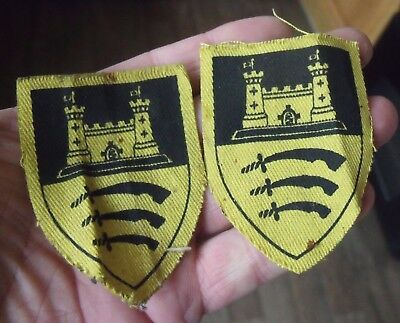 Unknown Pair Of Printed Cloth Probably Ww2 Essex Regiment Type Formation Badges