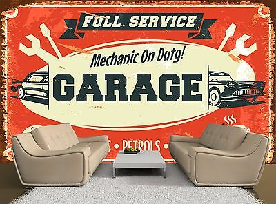 Car Service Sign Old Retro Garage Photo Wallpaper Wall Mural GIANT WALL DECOR