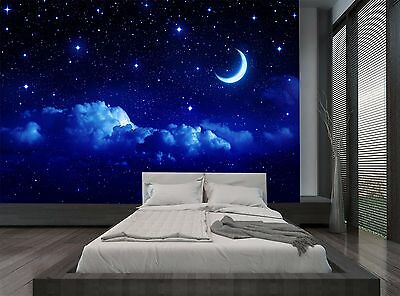 Sky Stars Clouds Blue Moon Night Wall Mural Photo Wallpaper GIANT WALL DECOR