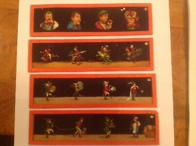 4 Antique Victorian Hand Painted magic lantern slides characters Signed EP