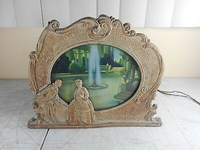 ORIGINAL 1931 SCENE IN MOTION LAMP Fountain of Youth Motion Lamp  2 Glass Scenes