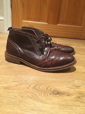 Mens Brogue Boots Size 9 Eur43 By River Island Brown Smart/Evening/Work
