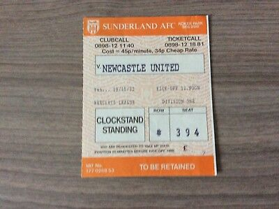 Original Ticket: 1992/3 Sunderland v Newcastle Utd.  Div 1