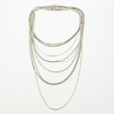 Sterling Silver - Lot of 10 Rope Link Chain Necklaces NOT SCRAP - 63g