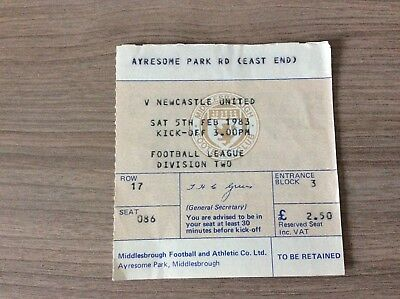Original Ticket: 1982/3 Middlesbrough v Newcastle Utd.  Div 2