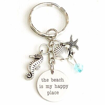 BFS830 The Beach is My Happy Place Beach Stainless Steel Charms