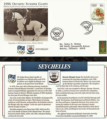 Seychelles First Day Cover 1996 Olympic Games