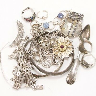 VTG Sterling Silver Lot of Mixed Jewelry Rings Bracelet SCRAP WEAR REPAIR - 134g
