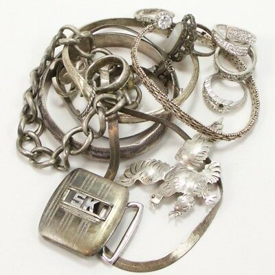 VTG Sterling Silver Lot of Mixed Jewelry Rings Bracelet SCRAP WEAR REPAIR - 126g