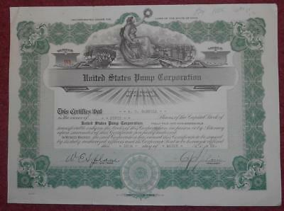 31491 USA 1925 United States Pump Corporation 50 shares certificate