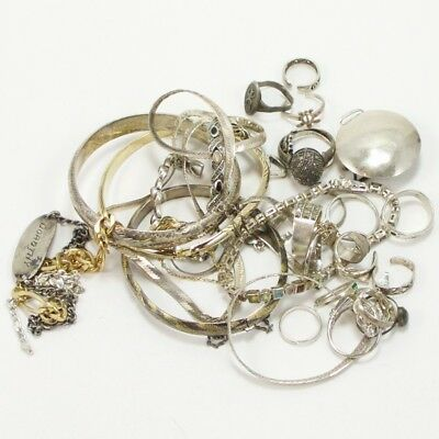 VTG Sterling Silver Lot of Mixed Jewelry Rings Bracelet SCRAP WEAR REPAIR - 136g