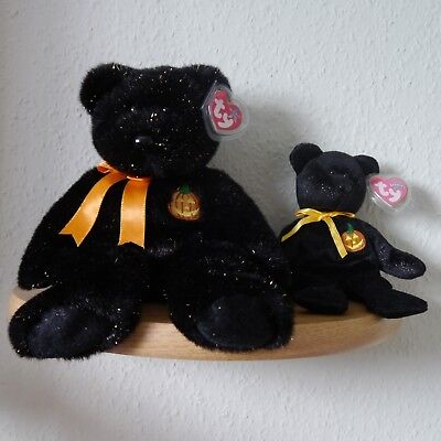 Ty Beanie Buddy+Baby Pair - Haunt 'The Halloween Bears' with Heart tags. Mint!
