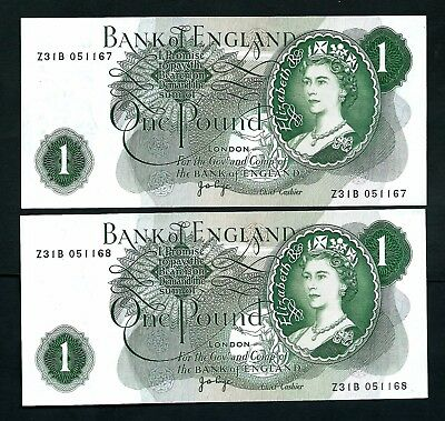 Bank of England (P371g) 1 Pound Page 1970 x 2 Consecutive UNC